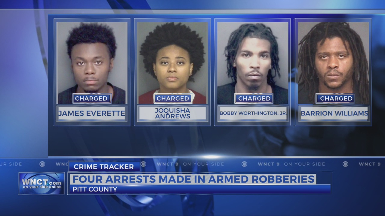 Four people arrested in connection to armed robberies in Pitt Co