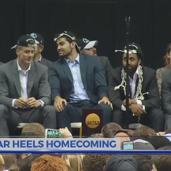 National Champion Tar Heels return home