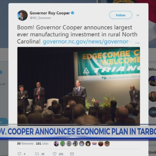 Gov. Cooper announces Edgecombe Co. as site for major tire plant