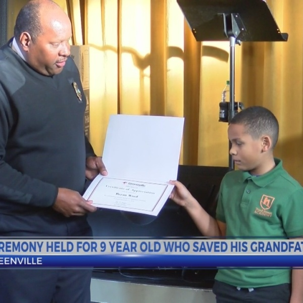 Ceremony held for 9-year-old who saved his grandfather