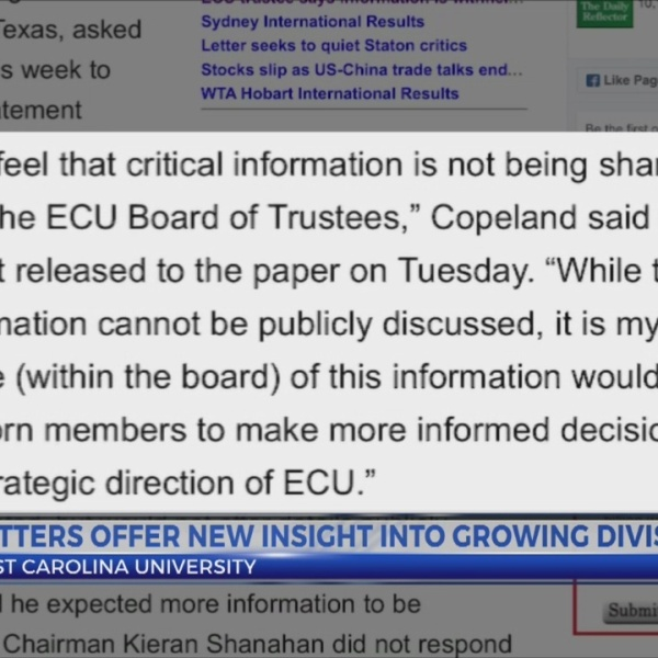 Letters attempt to offer insight into leadership, signs of division at ECU