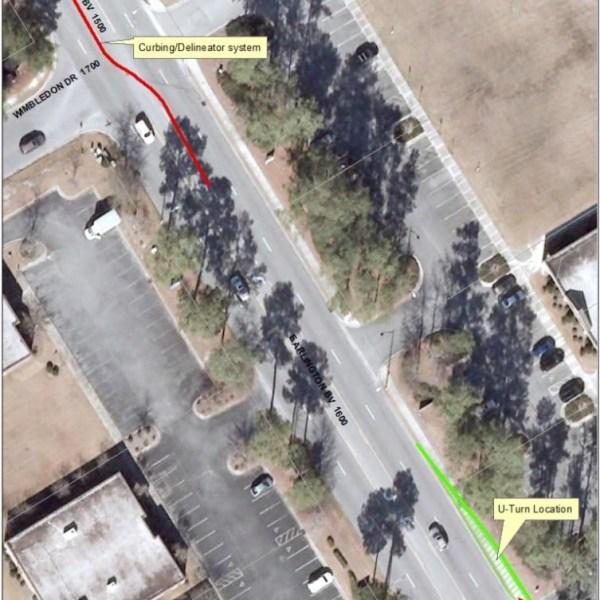 Arlington Blvd Delineator U-Turn Map