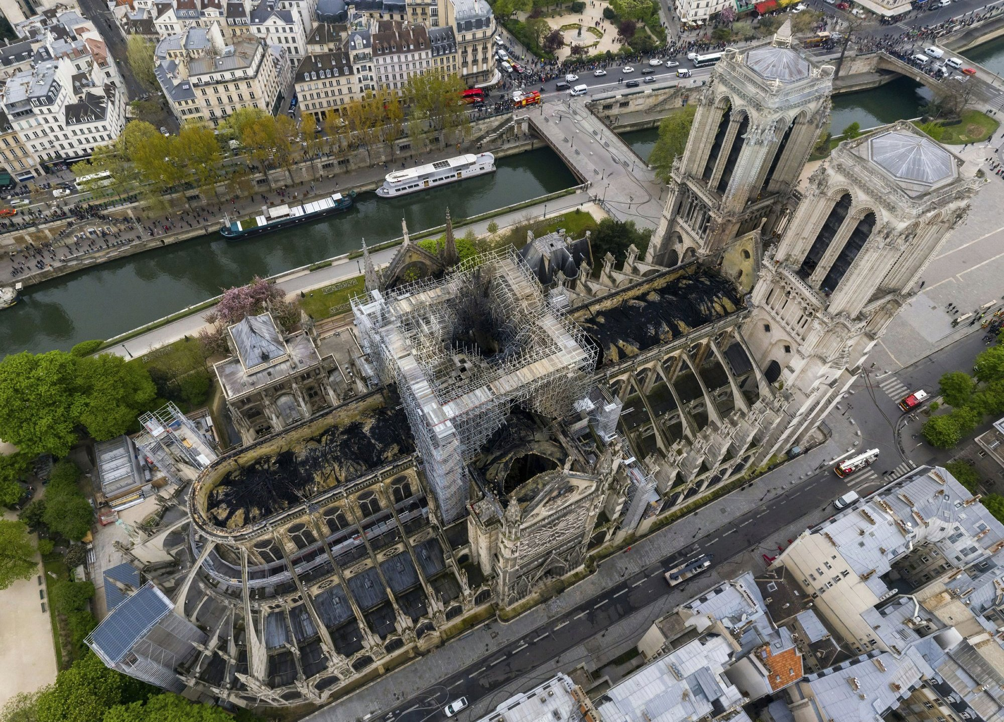 Drone image of Burned Notre Dame Cathedral