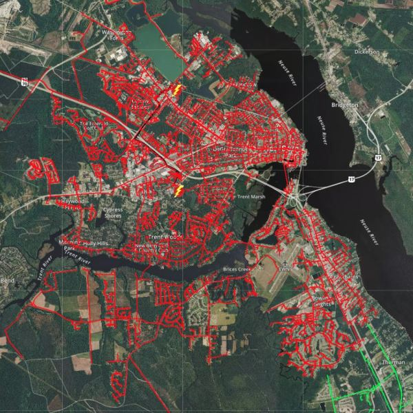 New Bern Power Outage Map April 15 2019