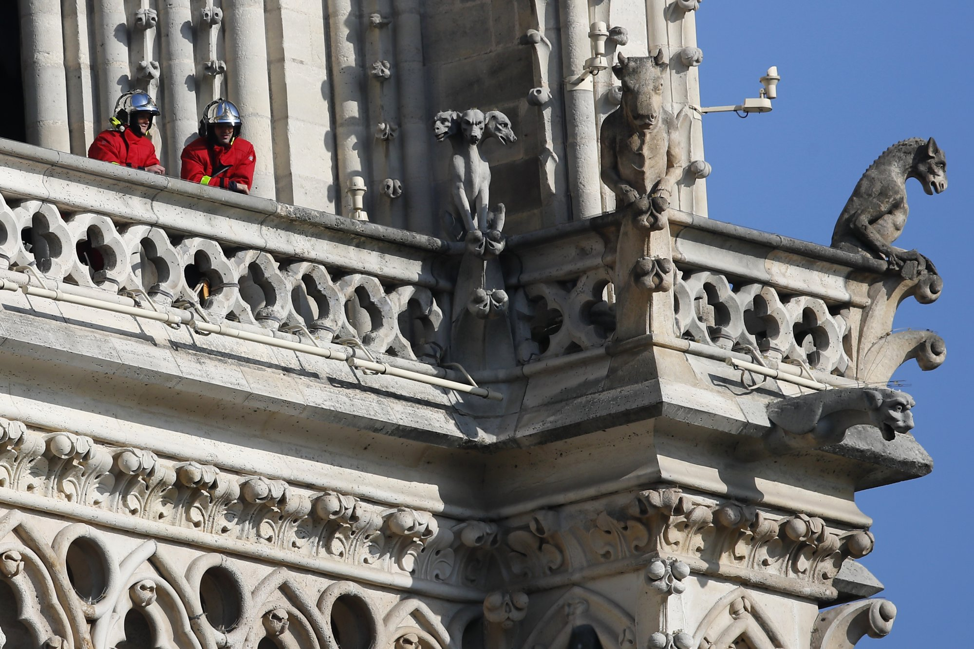 Firefighters at Notre Dame Cathedral, April 17, 2019