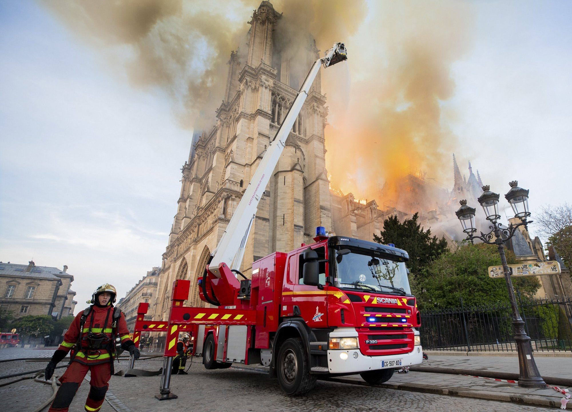 Notre Dame Fire Scene Tuesday