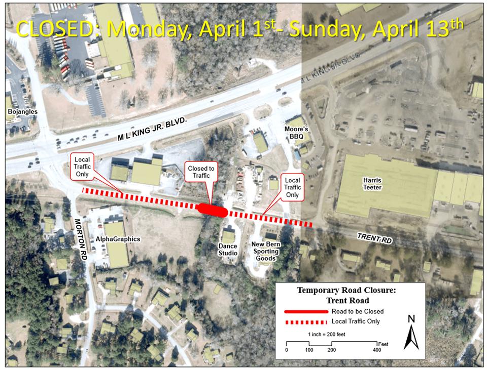 Trent Road New Bern Closure Map