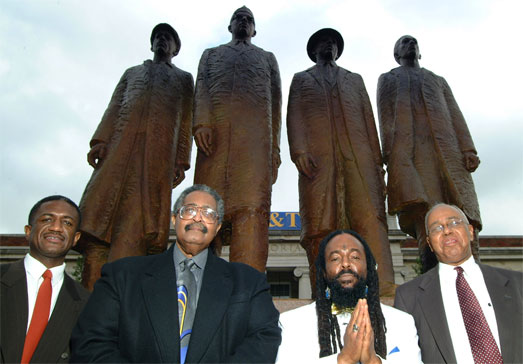 "From left to right: David ""Chip"" Richmond (son of the late David L. Richmond), Franklin McCain Sr. '63, Jibreel Khazan '63 & Joseph A. McNeil '63 pose in front of the statue commemorating the A&T Four on the A&T campus. Photo courtesy of A&T University Relations."