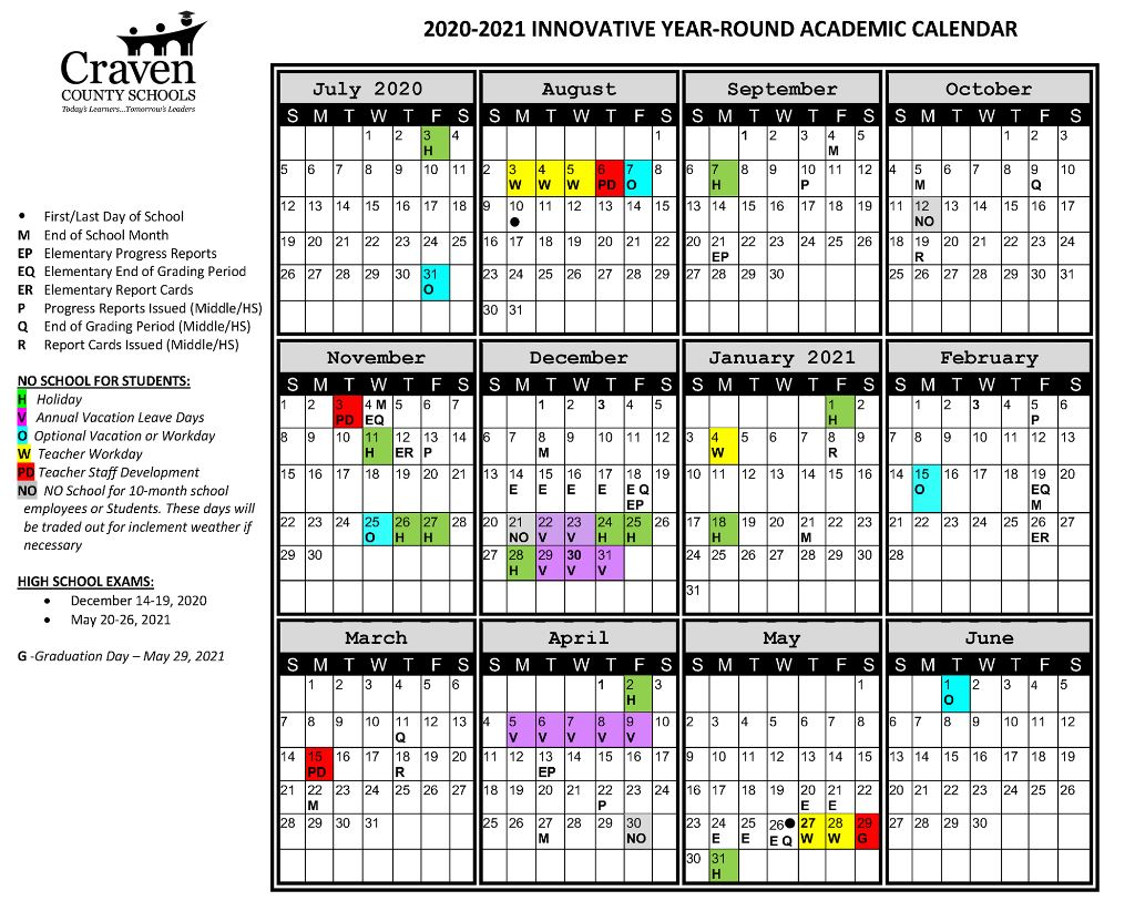 Craven County School Calendar Craven County Board of Education approves innovative year round