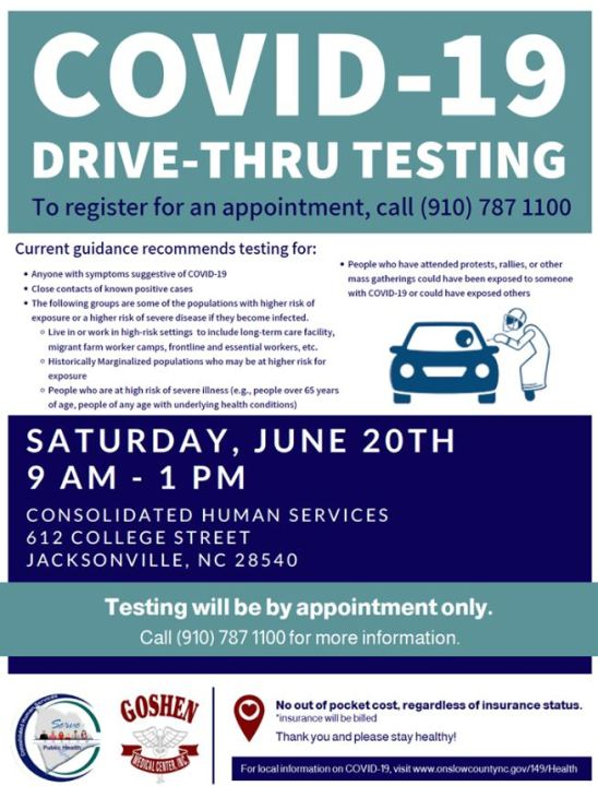 Onslow County Public Health Offering Free Drive Thru Testing Wnct