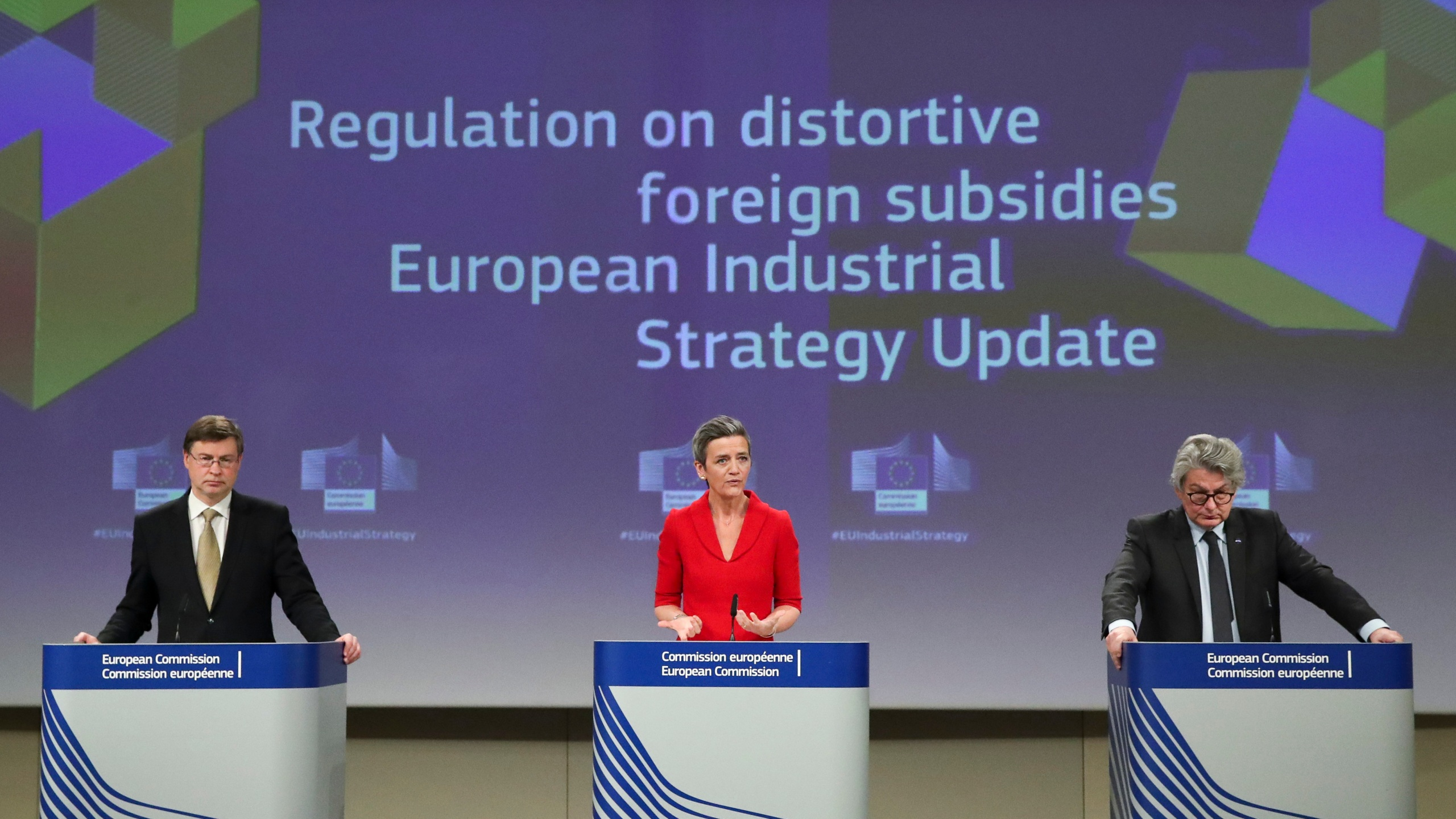 European Commission Vice Presidents Vestager and Dombrovskis, and EU Commissioner for Internal Market Breton news conference in Brussels