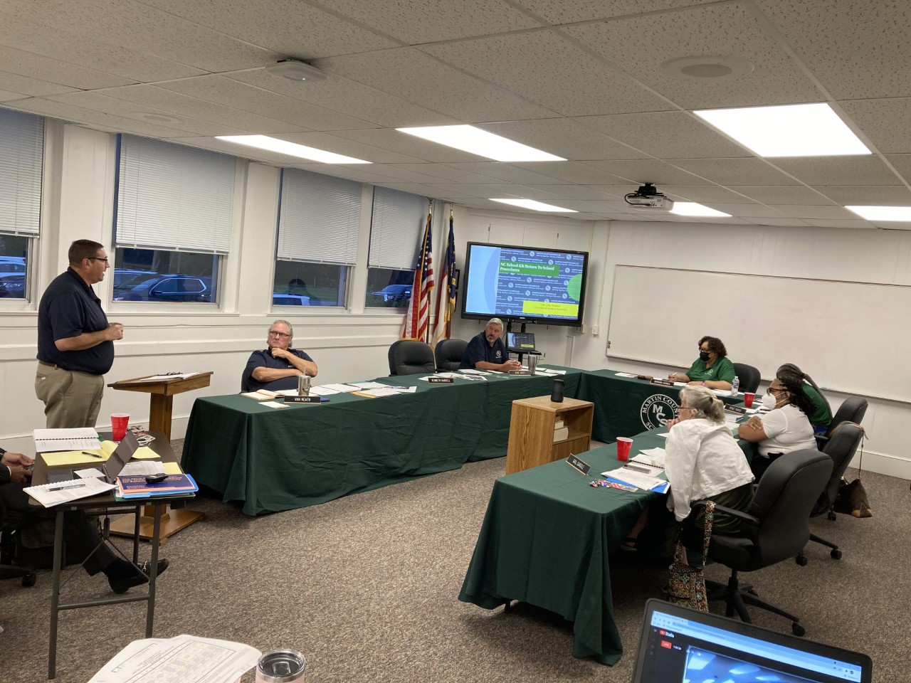 Clay Wagner addressing the board Monday night. via Sarah Stalls