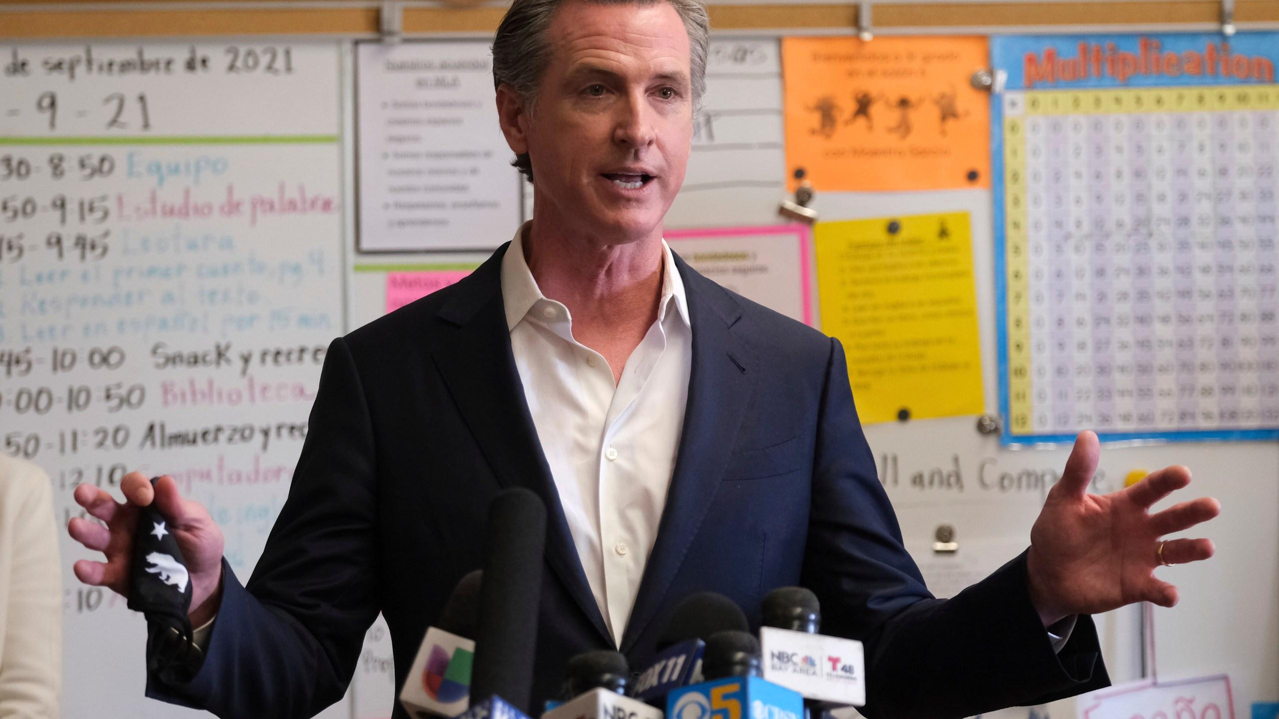 Gavin Newsom visits TK-8 school
